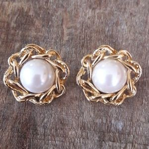 Vintage Givenchy Gold Pearl Clip-On Earrings
